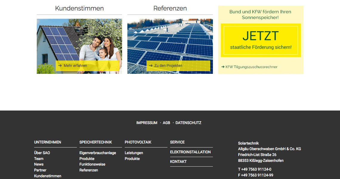 Screenshot einer Detailansicht der Website SAO Solar