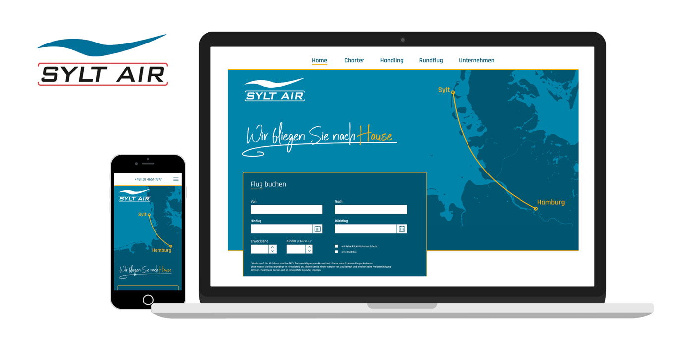 Mock Up der Sylt Air Website